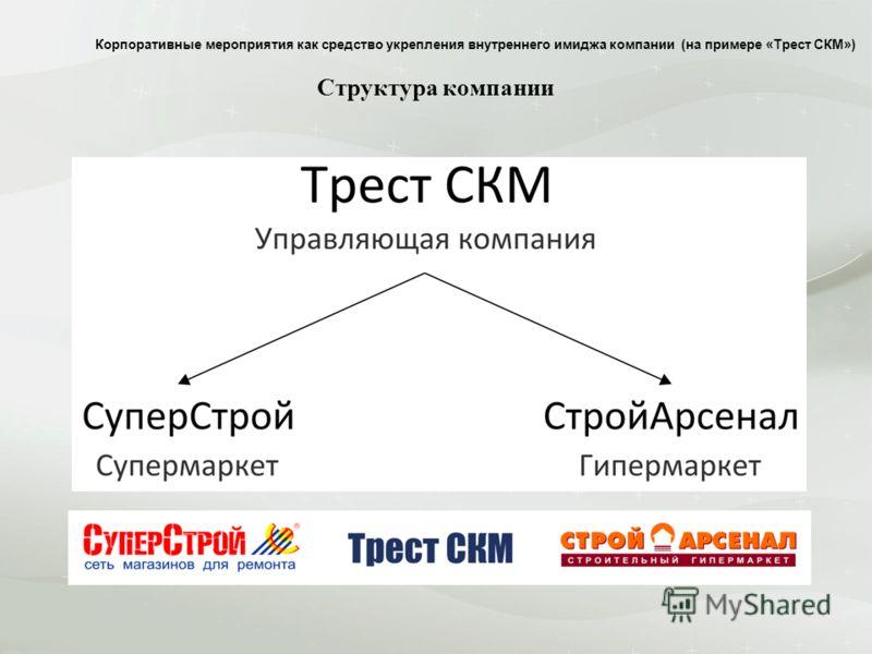 Структура компании Корпоративные мероприятия как средство укрепления внутреннего имиджа компании (на примере «Трест СКМ»)