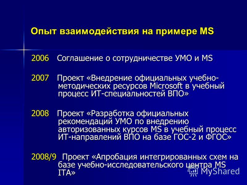 Опыт взаимодействия на примере MS 2006 Соглашение о сотрудничестве УМО и MS 2007 Проект «Внедрение официальных учебно- методических ресурсов Microsoft в учебный процесс ИТ-специальностей ВПО» 2008 Проект «Разработка официальных рекомендаций УМО по вн