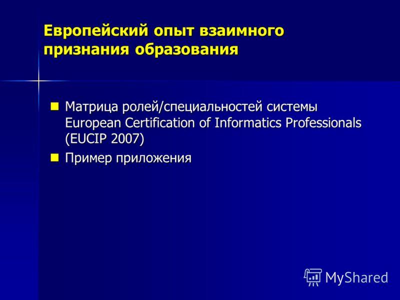 Европейский опыт взаимного признания образования Матрица ролей/специальностей системы European Certification of Informatics Professionals (EUCIP 2007) Матрица ролей/специальностей системы European Certification of Informatics Professionals (EUCIP 200