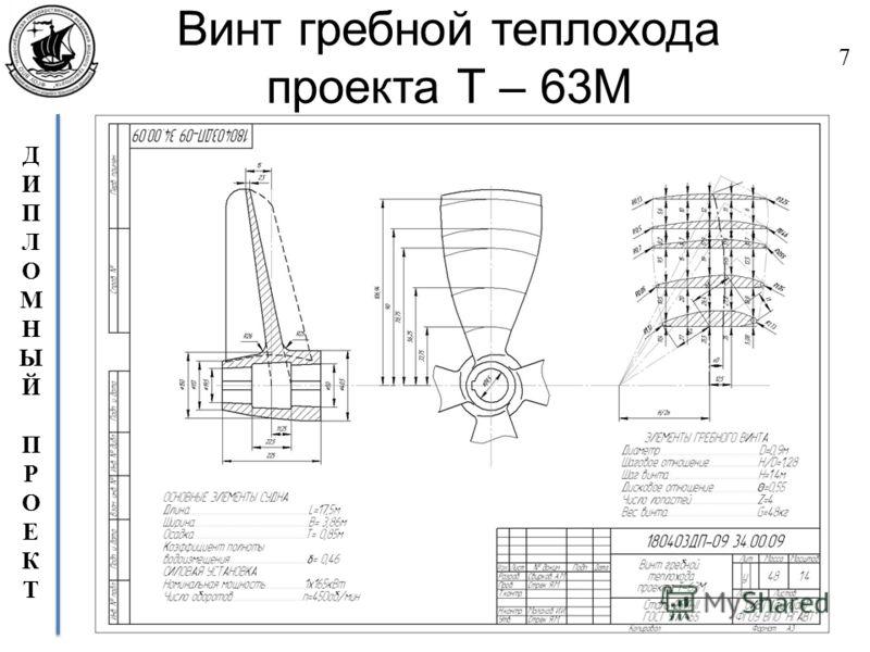 ДИПЛОМНЫЙПРОЕКТДИПЛОМНЫЙПРОЕКТ Винт гребной теплохода проекта Т – 63М 7
