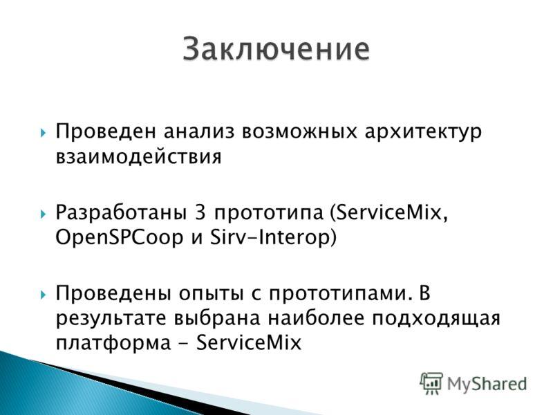 Проведен анализ возможных архитектур взаимодействия Разработаны 3 прототипа (ServiceMix, OpenSPCoop и Sirv-Interop) Проведены опыты с прототипами. В результате выбрана наиболее подходящая платформа - ServiceMix