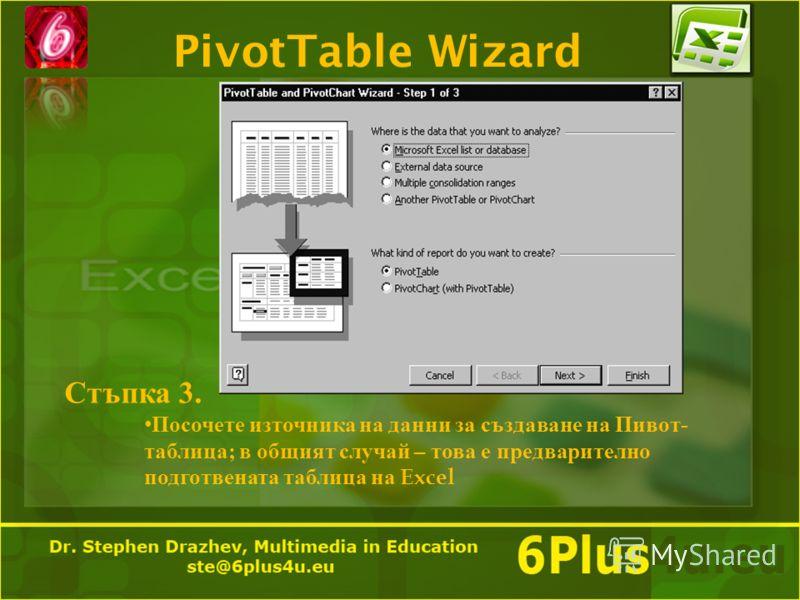 PivotTable Wizard Стъпка 3. Посочете източника на данни за създаване на Пивот- таблица; в общият случай – това е предварително подготвената таблица на Excel