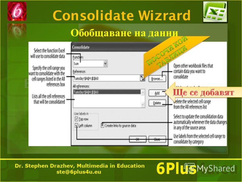 Consolidate Wizrard Обобщаване на данни
