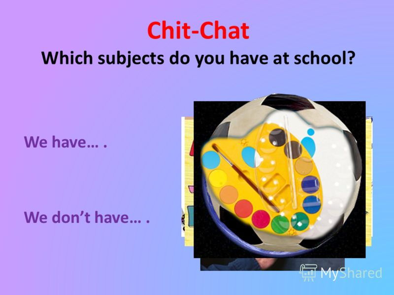 Chit-Chat Which subjects do you have at school? We have…. We dont have….