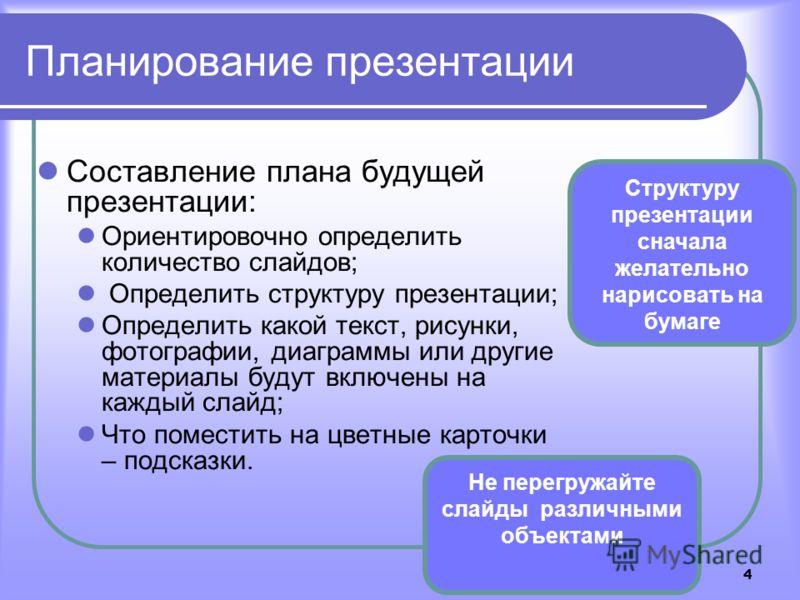 4 Планирование презентации Составление плана будущей презентации: Ориентировочно определить количество слайдов; Определить структуру презентации; Определить какой текст, рисунки, фотографии, диаграммы или другие материалы будут включены на каждый сла