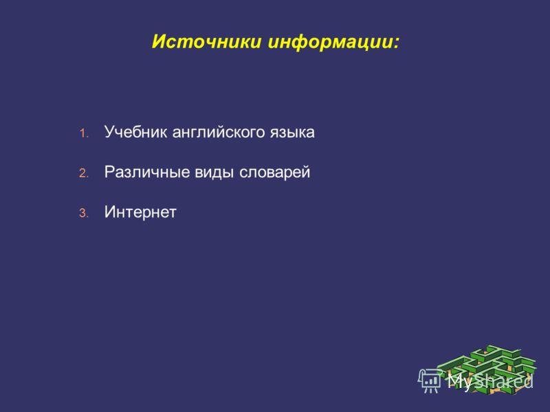 Источники информации: 1. Учебник английского языка 2. Различные виды словарей 3. Интернет