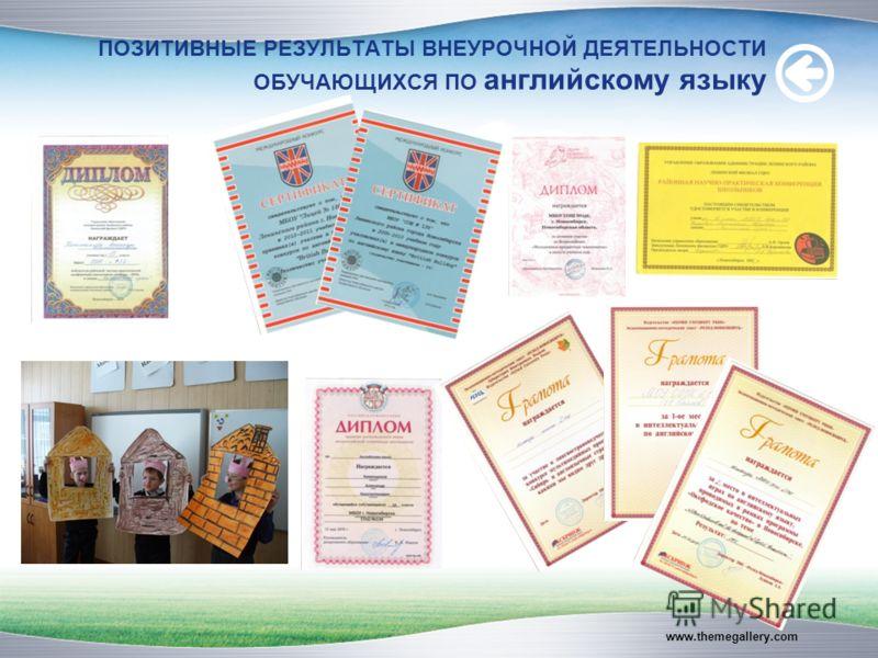 ПОЗИТИВНЫЕ РЕЗУЛЬТАТЫ ВНЕУРОЧНОЙ ДЕЯТЕЛЬНОСТИ ОБУЧАЮЩИХСЯ ПО английскому языку www.themegallery.com