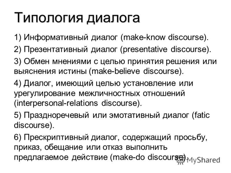 Типология диалога 1) Информативный диалог (make-know discourse). 2) Презентативный диалог (presentative discourse). 3) Обмен мнениями с целью принятия решения или выяснения истины (make-believe discourse). 4) Диалог, имеющий целью установление или ур