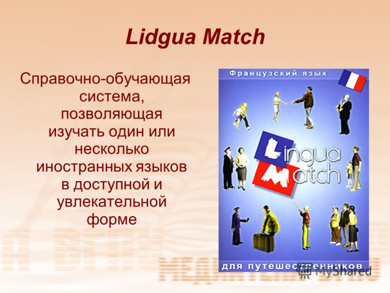 Lidgua Match Справочно-обучающая система, позволяющая изучать один или несколько иностранных языков в доступной и увлекательной форме