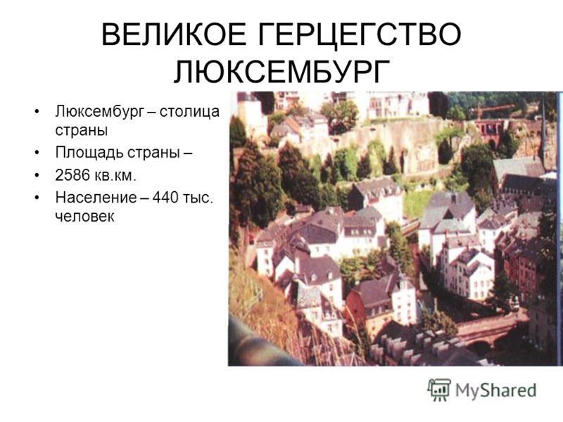 ВЕЛИКОЕ ГЕРЦЕГСТВО ЛЮКСЕМБУРГ Люксембург – столица страны Площадь страны – 2586 кв.км. Население – 440 тыс. человек