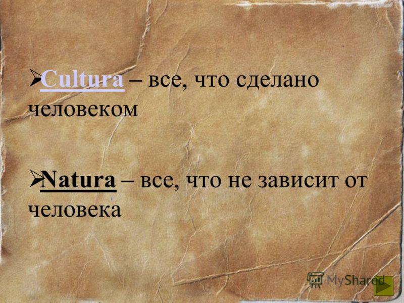 Cultura – все, что сделано человеком Cultura Natura – все, что не зависит от человека