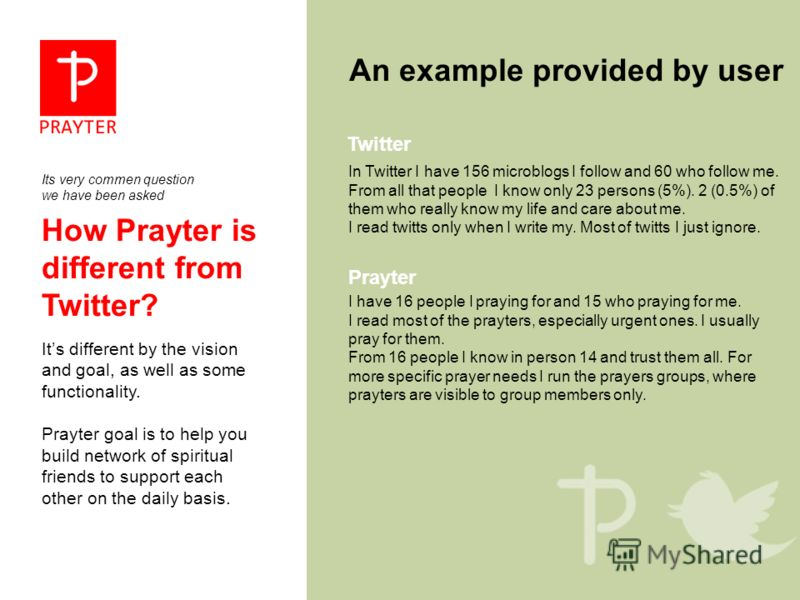 How Prayter is different from Twitter? Its different by the vision and goal, as well as some functionality. Prayter goal is to help you build network of spiritual friends to support each other on the daily basis. An example provided by user In Twitte