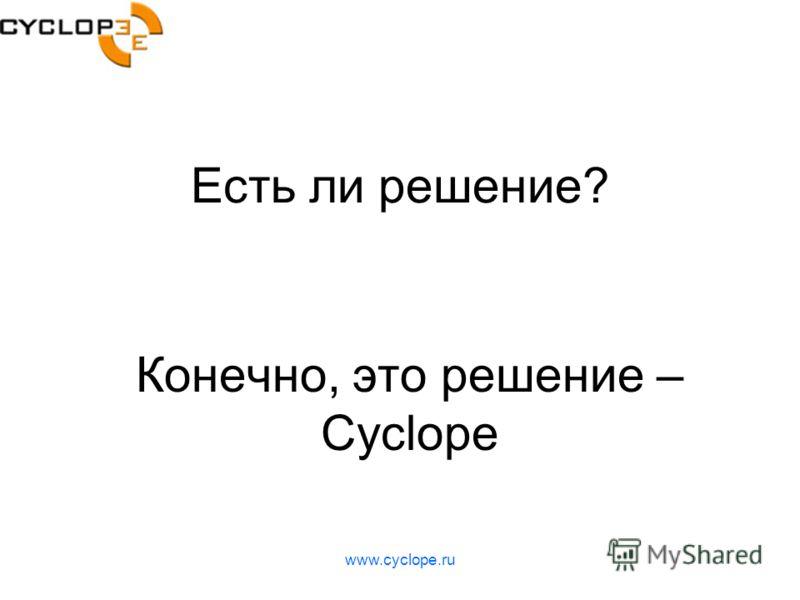 www.cyclope.ru Есть ли решение? Конечно, это решение – Cyclope
