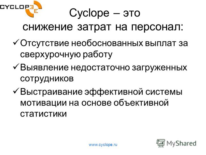www.cyclope.ru Cyclope – это снижение затрат на персонал: Отсутствие необоснованных выплат за сверхурочную работу Выявление недостаточно загруженных сотрудников Выстраивание эффективной системы мотивации на основе объективной статистики