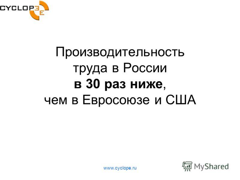 www.cyclope.ru Производительность труда в России в 30 раз ниже, чем в Евросоюзе и США