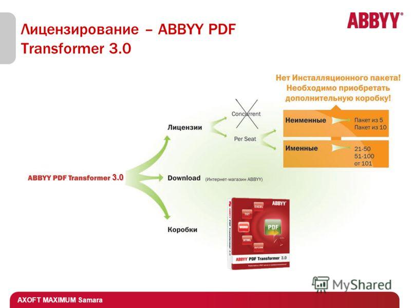 AXOFT MAXIMUM Samara Лицензирование – ABBYY PDF Transformer 3.0 3.0
