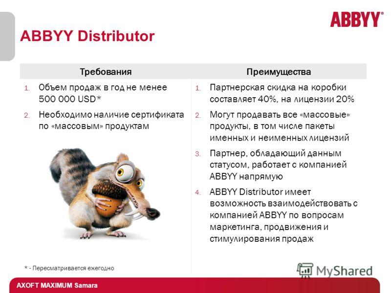 AXOFT MAXIMUM Samara ABBYY Distributor ТребованияПреимущества 1. Объем продаж в год не менее 500 000 USD* 2. Необходимо наличие сертификата по «массовым» продуктам * - Пересматривается ежегодно 1. Партнерская скидка на коробки составляет 40%, на лице