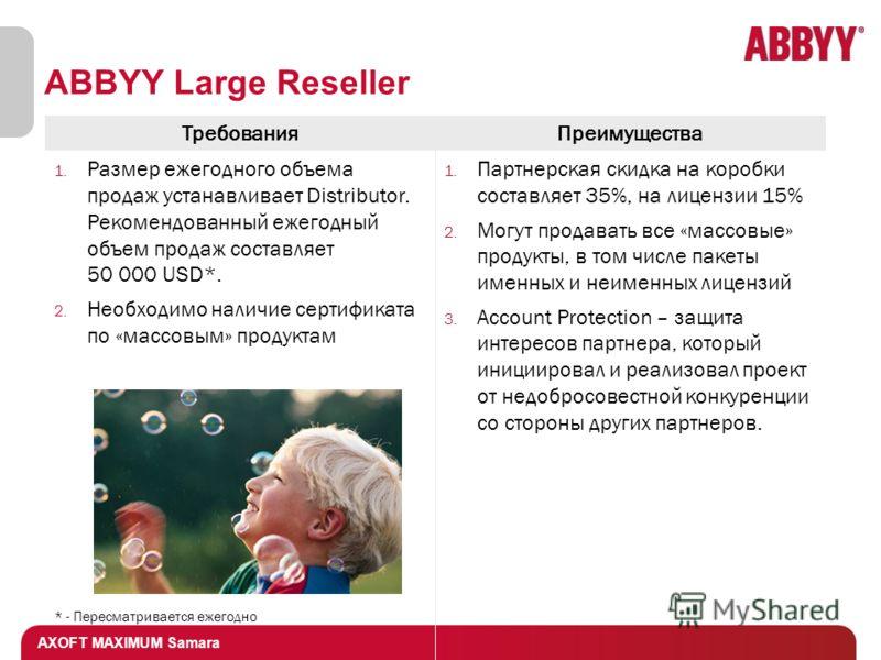 AXOFT MAXIMUM Samara ABBYY Large Reseller ТребованияПреимущества 1. Размер ежегодного объема продаж устанавливает Distributor. Рекомендованный ежегодный объем продаж составляет 50 000 USD*. 2. Необходимо наличие сертификата по «массовым» продуктам *