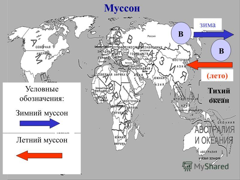 Тихий океан Муссон В В Условные обозначения: Зимний муссон Летний муссон (лето) зима