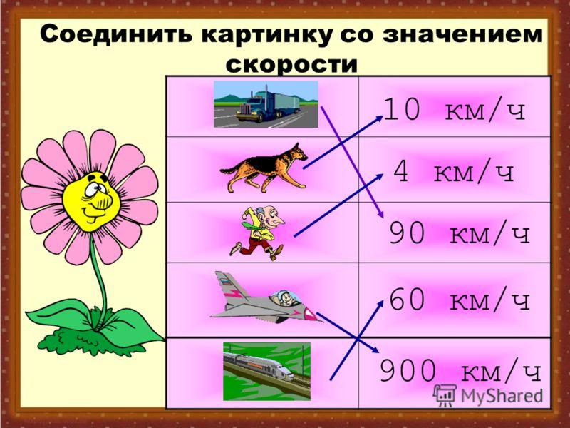 Соединить картинку со значением скорости 4 км/ч 10 км/ч 900 км/ч 90 км/ч 60 км/ч