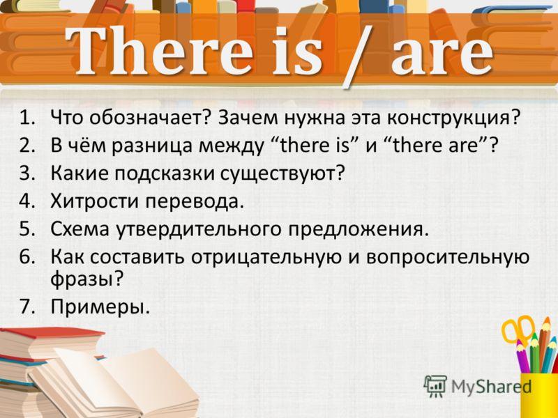 There is / are 1.Что обозначает? Зачем нужна эта конструкция? 2.В чём разница между there is и there are? 3.Какие подсказки существуют? 4.Хитрости перевода. 5.Схема утвердительного предложения. 6.Как составить отрицательную и вопросительную фразы? 7.