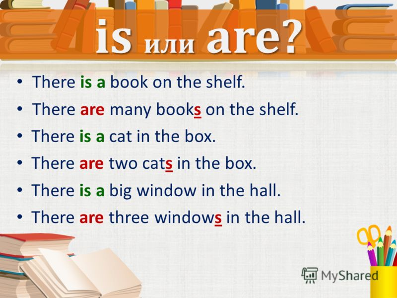 There is a book on the shelf. There are many books on the shelf. There is a cat in the box. There are two cats in the box. There is a big window in the hall. There are three windows in the hall. is или are?
