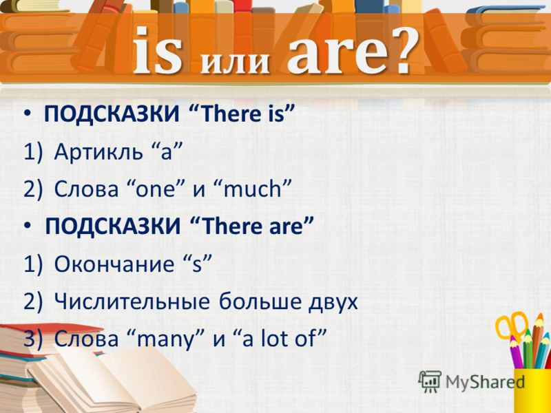 ПОДСКАЗКИ There is 1)Артикль a 2)Слова one и much ПОДСКАЗКИ There are 1)Окончание s 2)Числительные больше двух 3)Слова many и a lot of is или are?