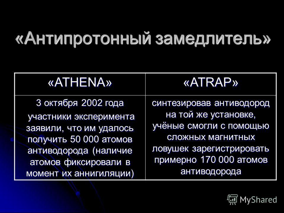 «Антипротонный замедлитель» «ATHENA» «ATRAP» 3 октября 2002 года участники эксперимента заявили, что им удалось получить 50 000 атомов антиводорода (наличие атомов фиксировали в момент их аннигиляции) участники эксперимента заявили, что им удалось по