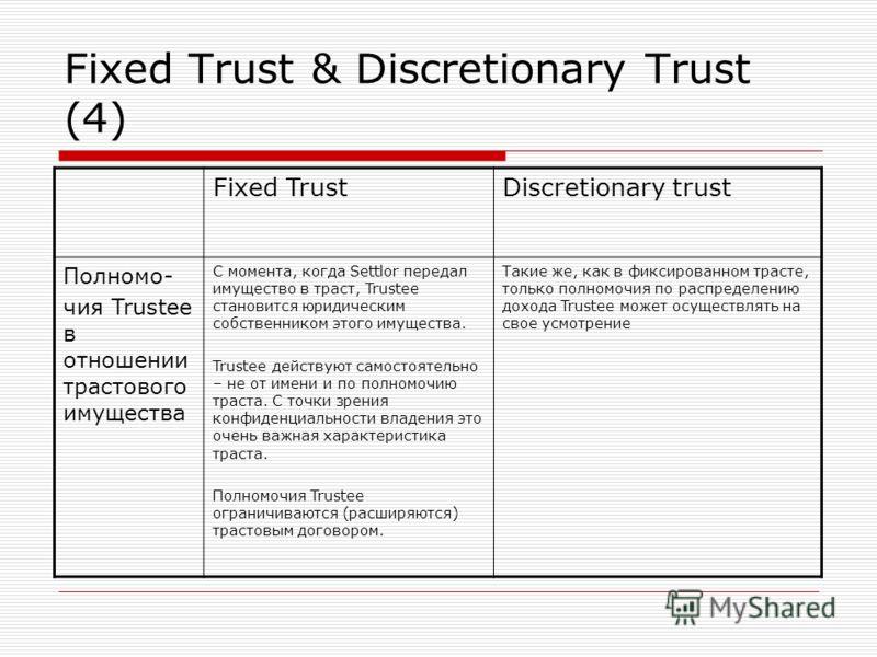 Fixed Trust & Discretionary Trust (4) Fixed TrustDiscretionary trust Полномо- чия Trustee в отношении трастового имущества С момента, когда Settlor передал имущество в траст, Trustee становится юридическим собственником этого имущества. Trustee дейст