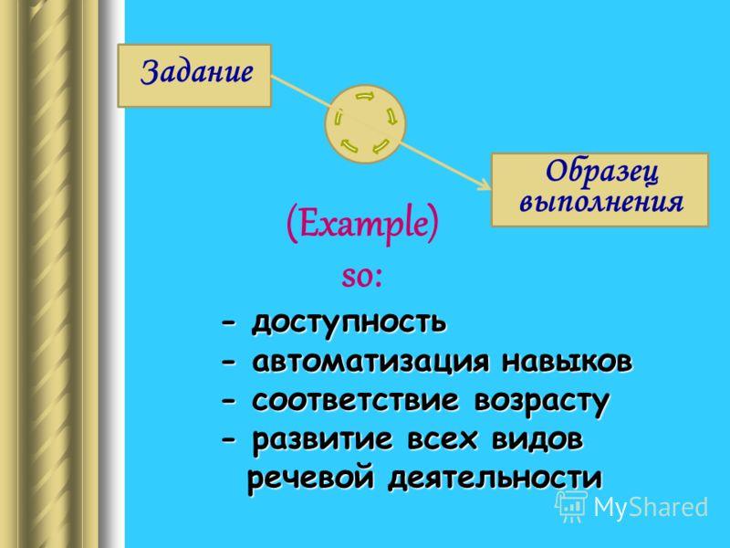 Задание (Example) so: - доступность - автоматизация навыков - соответствие возрасту - развитие всех видов речевой деятельности речевой деятельности Образец выполнения