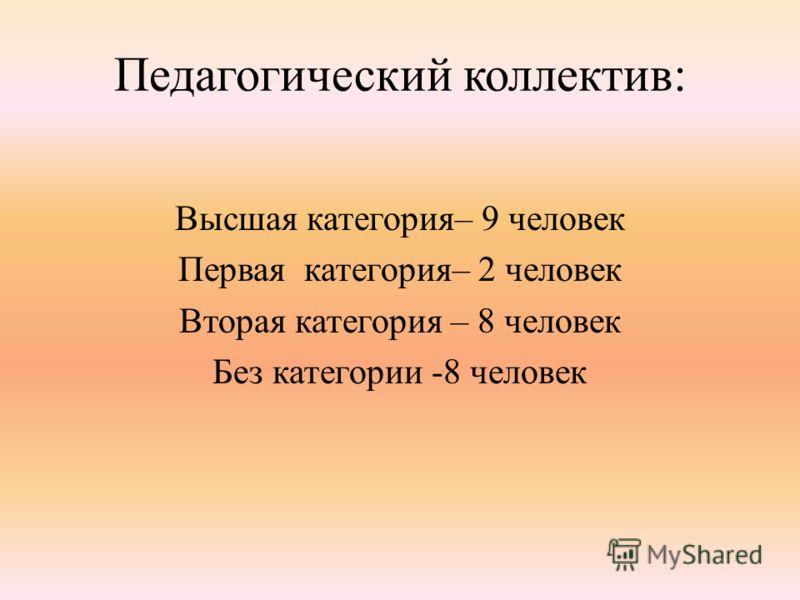 Педагогический коллектив: Высшая категория– 9 человек Первая категория– 2 человек Вторая категория – 8 человек Без категории -8 человек