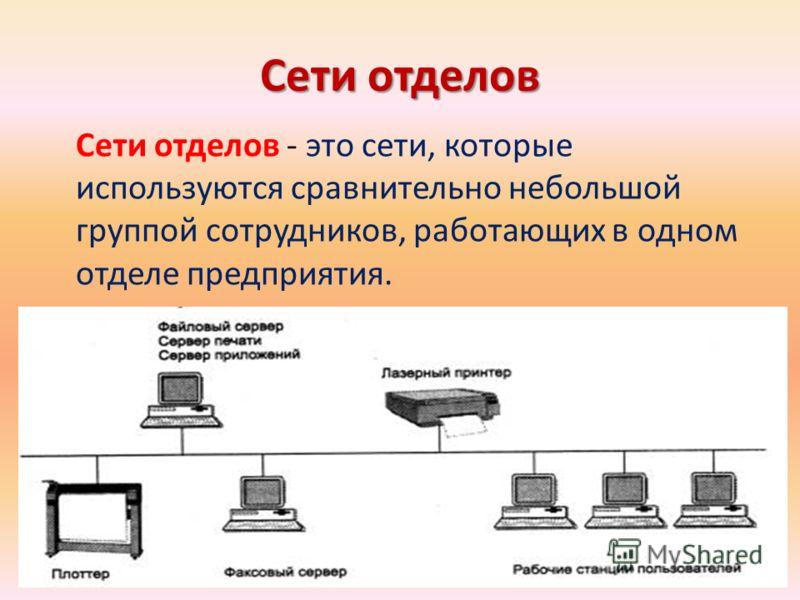 Сети отделов Сети отделов - это сети, которые используются сравнительно небольшой группой сотрудников, работающих в одном отделе предприятия.
