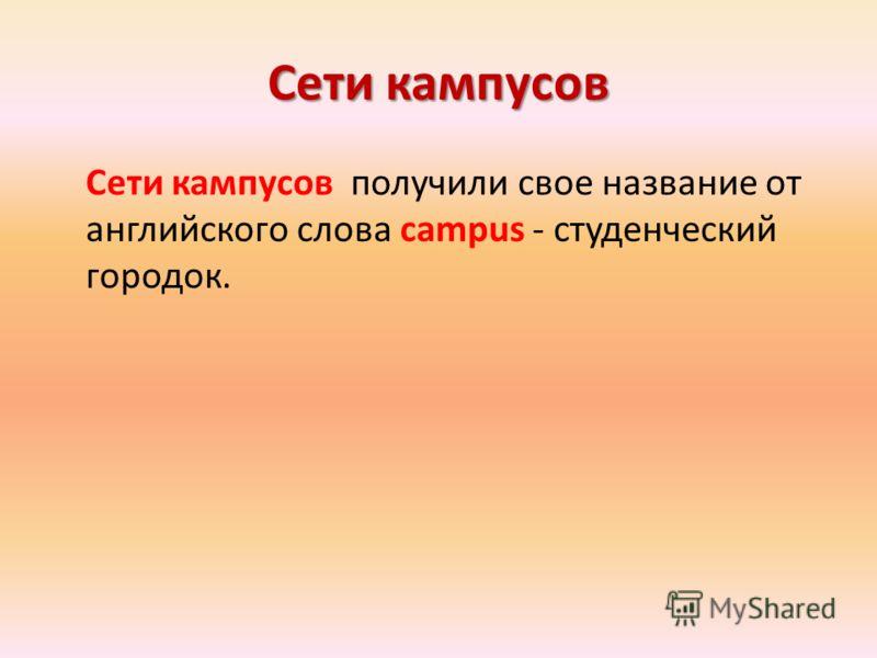 Сети кампусов Сети кампусов получили свое название от английского слова campus - студенческий городок.
