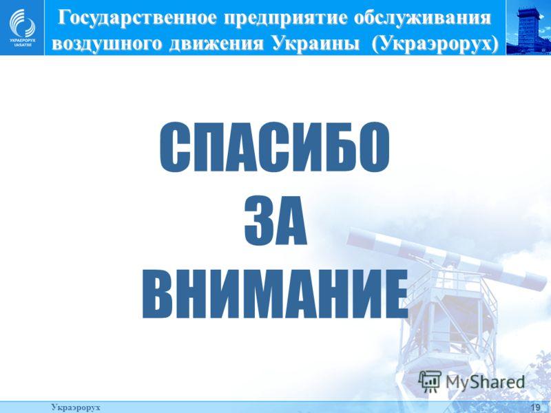 19 СПАСИБО ЗА ВНИМАНИЕ Государственное предприятие обслуживания воздушного движения Украины (Украэрорух) Украэрорух
