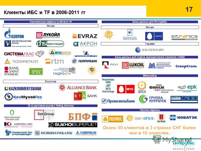 Клиенты ИБС и TF в 2006-2011 гг 17 Около 50 клиентов в 3 странах СНГ более чем в 10 отраслях.