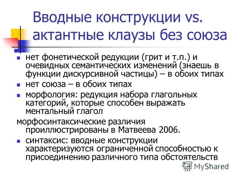 Вводные конструкции vs. актантные клаузы без союза нет фонетической редукции (грит и т.п.) и очевидных семантических изменений (знаешь в функции дискурсивной частицы) – в обоих типах нет союза – в обоих типах морфология: редукция набора глагольных ка