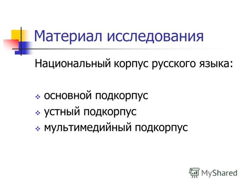 Материал исследования Национальный корпус русского языка: основной подкорпус устный подкорпус мультимедийный подкорпус