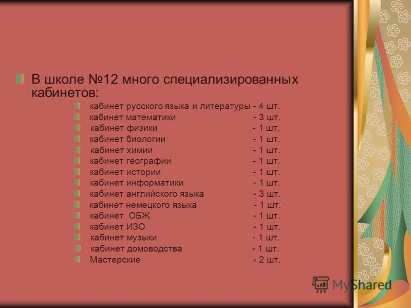 В школе 12 много специализированных кабинетов: кабинет русского языка и литературы - 4 шт. кабинет математики - 3 шт. кабинет физики - 1 шт. кабинет биологии - 1 шт. кабинет химии - 1 шт. кабинет географии - 1 шт. кабинет истории - 1 шт. кабинет инфо