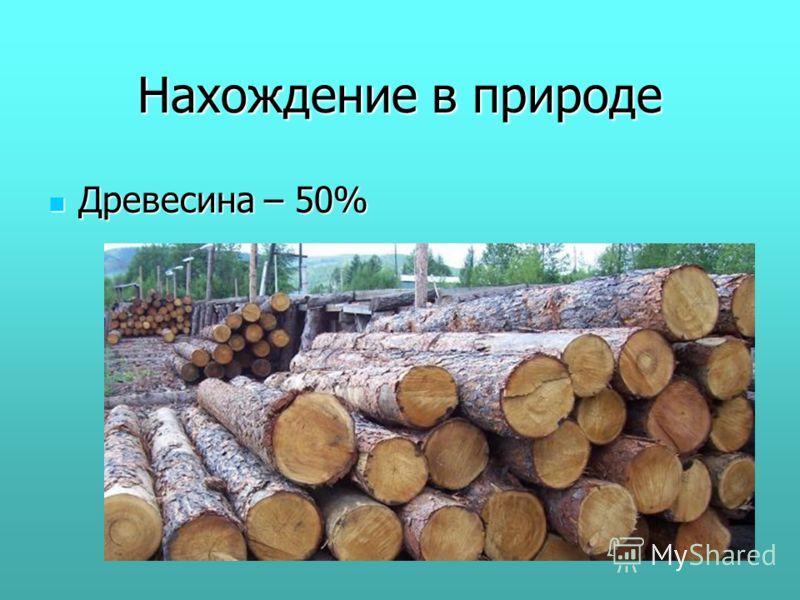 Нахождение в природе Древесина – 50% Древесина – 50%