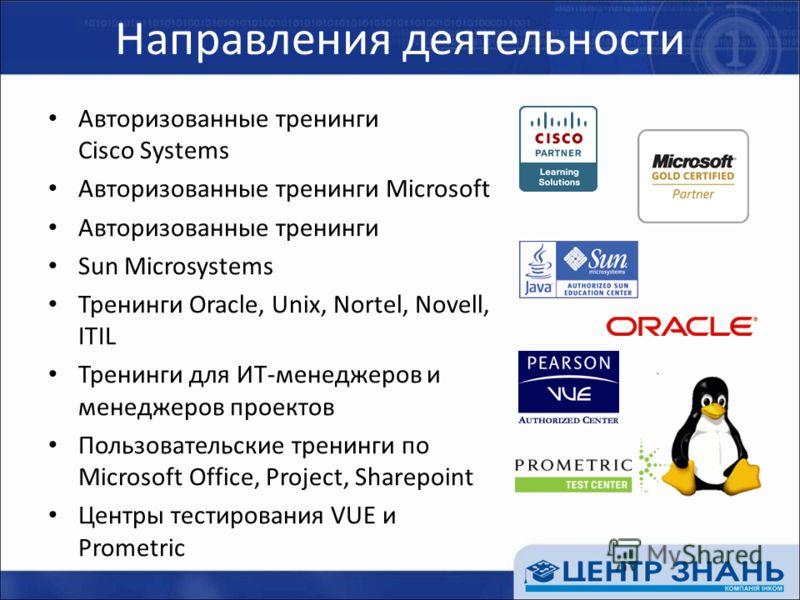 Направления деятельности Авторизованные тренинги Cisco Systems Авторизованные тренинги Microsoft Авторизованные тренинги Sun Microsystems Тренинги Oracle, Unix, Nortel, Novell, ITIL Тренинги для ИТ-менеджеров и менеджеров проектов Пользовательские тр