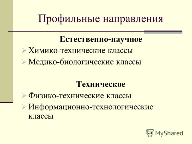 Профильные направления Естественно-научное Химико-технические классы Медико-биологические классы Техническое Физико-технические классы Информационно-технологические классы