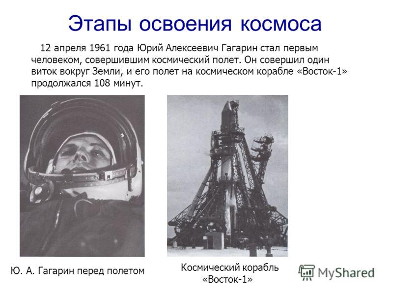 12 апреля 1961 года Юрий Алексеевич Гагарин стал первым человеком, совершившим космический полет. Он совершил один виток вокруг Земли, и его полет на космическом корабле «Восток-1» продолжался 108 минут. Ю. А. Гагарин перед полетом Космический корабл