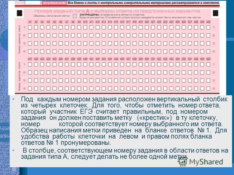 Под каждым номером задания расположен вертикальный столбик из четырех клеточек. Для того, чтобы отметить номер ответа, который участник ЕГЭ считает правильным, под номером задания он долженпоставить метку («крестик»)в ту клеточку, номеркоторой соотве