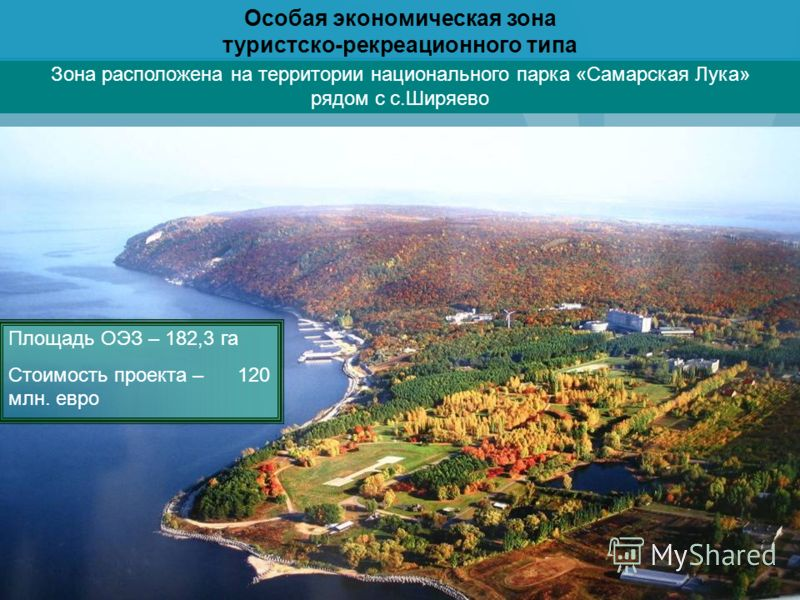Зона расположена на территории национального парка «Самарская Лука» рядом с с.Ширяево Площадь ОЭЗ – 182,3 га Стоимость проекта – 120 млн. евро Особая экономическая зона туристско-рекреационного типа