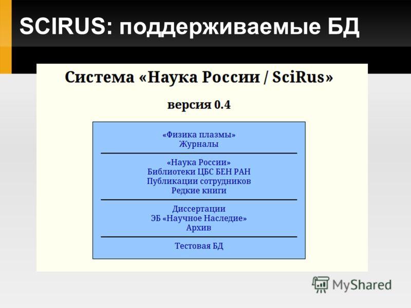 SCIRUS: поддерживаемые БД