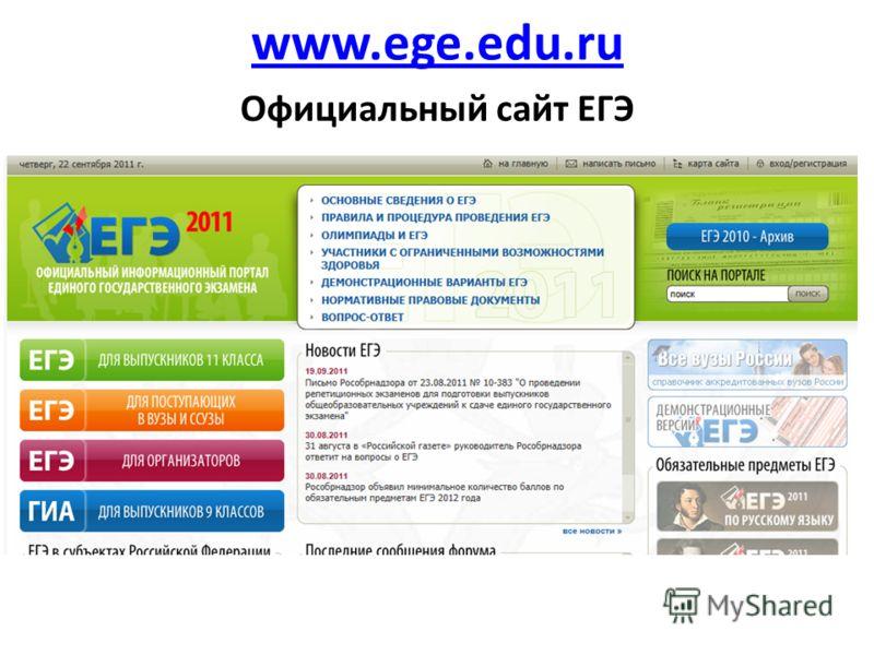 www.ege.edu.ru Официальный сайт ЕГЭ