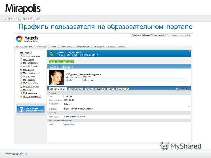 Профиль пользователя на образовательном портале