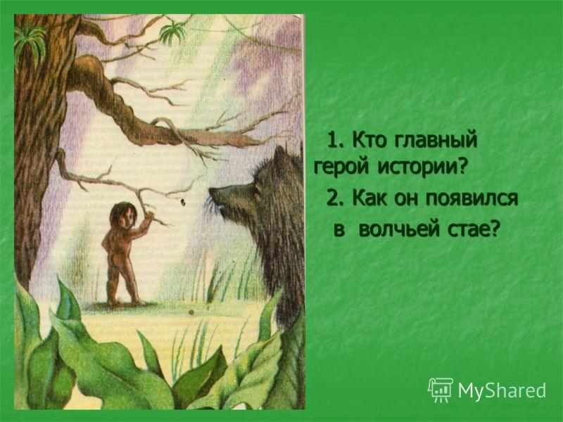 1. Кто главный герой истории? 1. Кто главный герой истории? 2. Как он появился 2. Как он появился в волчьей стае? в волчьей стае?