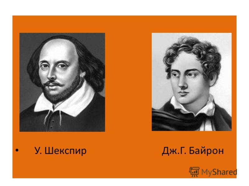 У. Шекспир Дж.Г. Байрон