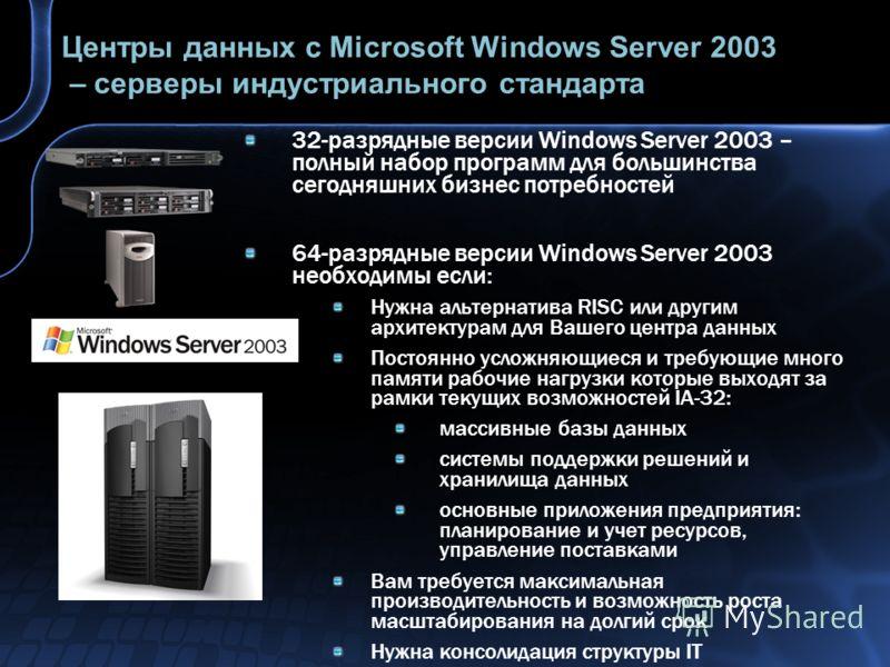 Центры данных с Microsoft Windows Server 2003 – серверы индустриального стандарта 32-разрядные версии Windows Server 2003 – полный набор программ для большинства сегодняшних бизнес потребностей 64-разрядные версии Windows Server 2003 необходимы если: